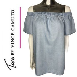 Two by Vince Camuto Off the Shoulder Chambray Top